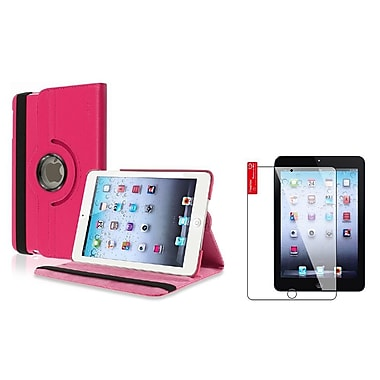 Insten® 360 Rotating Leather Case Stand Cover and 2-Piece Clear Protector for Apple iPad Mini 1 2 3, Hot Pink(1656366)
