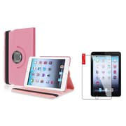 Insten Light Pink Case Rotating Leather Case Cover+2pcs Protector for Apple iPad Mini 1 2 3