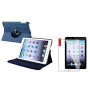 Insten Navy Blue 360 Rotating Leather Case Stand Cover+2pcs Protector for Apple iPad Mini 1 2 3