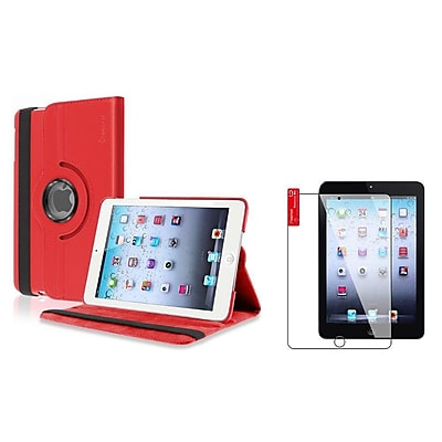 Insten Red Case Rotating Leather Case Stand Cover+2pcs Protector for Apple iPad Mini 1 2 3 (1656376)