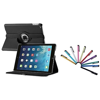Insten® 360 Swivel Rotating Leather Case with Sleep Mode and 10 Colorful Touch Screen Stylus Pens For iPad Air, Black(1846423)