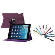 Insten Purple 360 Swivel Rotating Leather Case w/ Sleep Mode + 10 Colorful Touch Screen Stylus Pens For Apple iPad Air