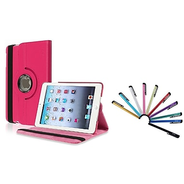 Insten® 360 Rotating Leather Case with Sleep Mode and 10 Colorful Touch Stylus Pens For Apple iPad Mini 1/2/3