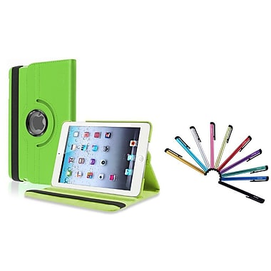 Insten® 360 Rotating Leather Case with Sleep Mode and 10 Colorful Touch Stylus Pens For iPad Mini 1/2/3, Green(1846467)