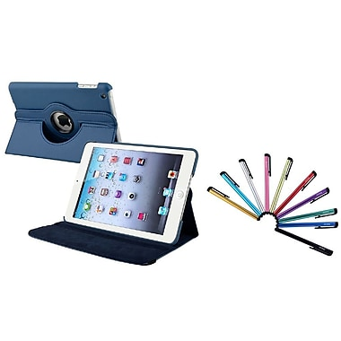 Insten Navy Blue Leather Case w/ Sleep Mode + 10-Piece Colorful Stylus For iPad Mini 3 2 1