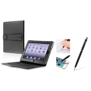 Insten Black Leather Case Stand + 2in1 Capacitive Touch Stylus with Ballpoint Pen For Apple iPad 1st