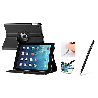 Insten 360 Swivel Black Rotating Leather Case w/ Sleep Mode + 2in1 Stylus with Ballpoint Pen For Apple iPad Air (1898209)
