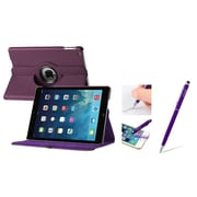 Insten Purple 360 Swivel Rotating Leather Case w/ Sleep Mode + 2in1 Stylus with Ballpoint Pen For Apple iPad Air