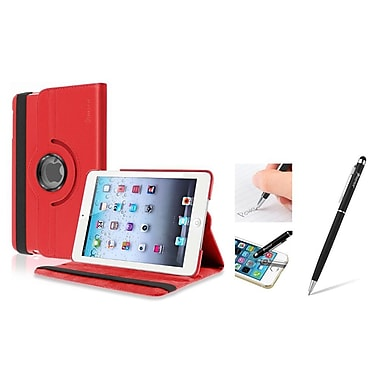 Insten Red Leather Case w/ Sleep Mode + Black 2in1 Stylus For iPad Mini 3 2 1 (1898240)