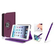 Insten Purple Leather Case w/ Sleep Mode + 2in1 Stylus For iPad Mini 3 2 1