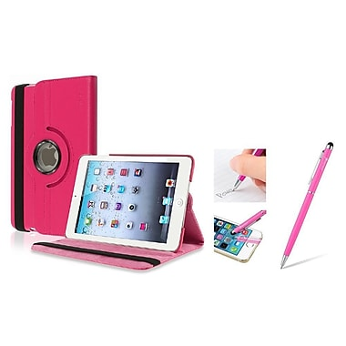 Insten® Leather Case with Sleep Mode and 2in1 Stylus For iPad Mini 3 2 1, Hot Pink(1898245)