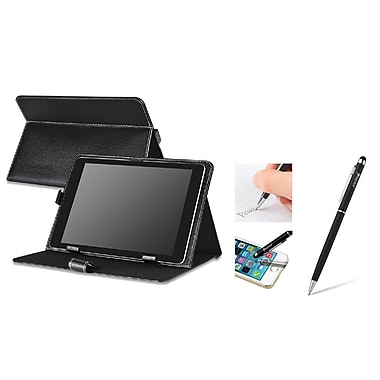 Insten Black Leather Case Stand + 2in1 Capacitive Touch Stylus with Ballpoint Pen For Universal 10