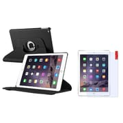Insten Black Multi Viewing Stand Leather Pouch + Clear Screen Protector for Apple iPad Air 2 2nd Gen