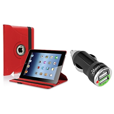 Insten Red 360 Swivel PU Leather Case for Apple iPad 2/iPad/iPad 3/iPad 4 Retina (with 2-Port USB Car Charger Adapter) (2048806)