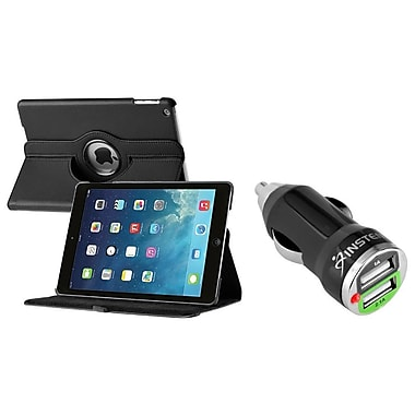 Insten® 360 Swivel Leather Case with 2-Port USB Car Charger Adapter For Apple iPad Air, Black (2048824)