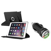 Insten Black Leather Case For Apple iPad Air 2 (iPad 6) (with 2-Port USB Car Charger Adapter)