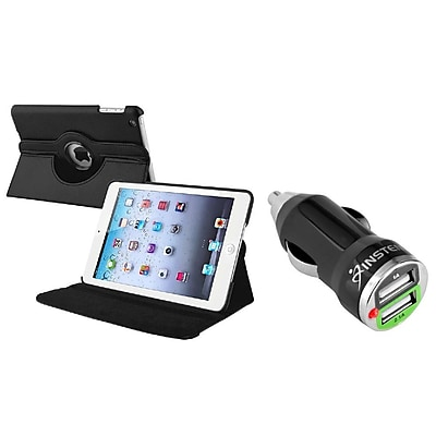 Insten Leather Case with Multi Viewing For iPad Mini 1st 2nd 3rd Gen 1 2 3, Black (w/ 2-Port USB Car Charger Adapter) (2048897)