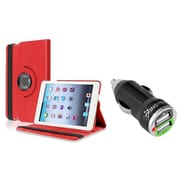 Insten Red Leather Case for iPad Mini 3rd 2nd 1st Gen (w/ 2-Port USB Car Charger Adapter)