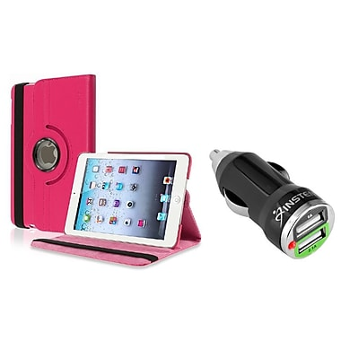 Insten Hot Pink Leather Case for iPad Mini 3rd 2nd 1st Gen (w/ 2-Port USB Car Charger Adapter)