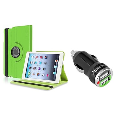 Insten Green Leather Case for iPad Mini 3rd 2nd 1st Gen (w/ 2-Port USB Car Charger Adapter)