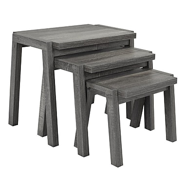 Brassex – Tables gigognes, ensemble de 3, 20,5 x 15,5 x 26 (po), gris, 161580-GR