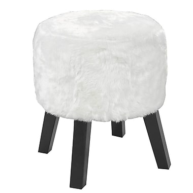 Brassex 3643-WH Round Foot Stool, 18