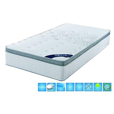 Brassex – Matelas grande taille 6106 à surface coussinée avec ressorts ensachés et mousse mémoire, 11,5 x 80 x 60, blanc