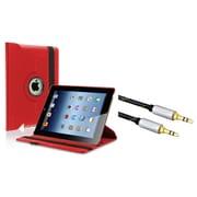 Insten 360-degree Swivel Leather Case For Apple iPad 2 / 3 / 4, Red (+ 3.5mm Auxiliary Cable)