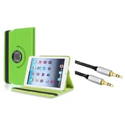 Insten Green 360-degree Multi Angle Leather Case For iPad Mini 3 2 1 (with 3.5mm Audio Extension Cable M/M)
