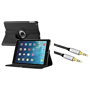 Insten 360 Swivel Leather Case For Apple iPad Air, Black (+3.5mm Aux Auxiliary Audio Stereo Extension M/M Cable)