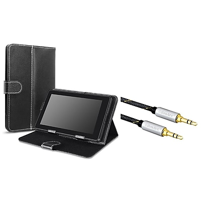 Insten Black 7-Inch Tablet Flip Leather Case Universal (+ 3.5mm Aux Auxiliary Audio Stereo Extension M/M Cable)