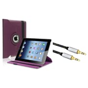 Insten 360-degree Swivel Leather Case For Apple iPad 2 / 3 / 4, Purple (with 3.5mm Audio Extension Cable M/M)