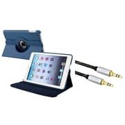 Insten Navy Blue Flip Leather Multi Angle View Stand Case for Apple iPad Mini 3rd 2nd 1st (with 3.5mm Audio Cable M/M)