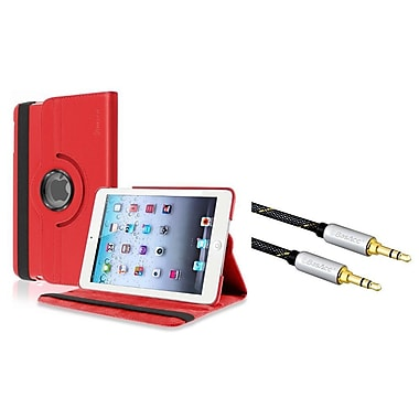 Insten® 360 Swivel Leather Case with 3.5mm M/M Audio Extension Cable For Apple iPad Mini 1 / 2 / 3, Red(2207081)