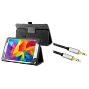 Insten Black Leather Stand Tablet Case For Samsung Galaxy Tab 4 7.0 7 inch T230 SM-T230 (with 3.5mm Audio Cable M/M)