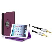 Insten 360-degree Swivel Leather Case For Apple iPad Mini 3 2 1 - Purple Violet (with 3.5mm Audio Extension Cable M/M)