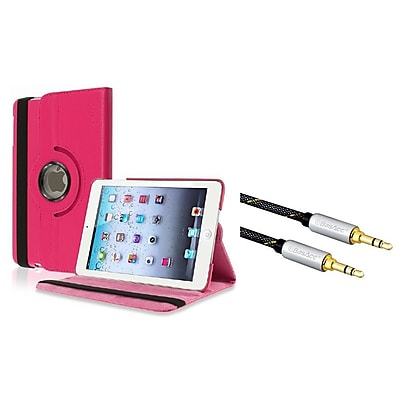 Insten 360-degree Swivel Leather Case For iPad Mini 3 2 1 - Hot Pink (+ 3.5mm Aux Audio Stereo Extension M/M Cable)