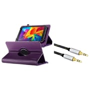 Insten Universal 7-Inch Tablet Leather Case with Stand - Purple (+ 3.5mm Aux Auxiliary Audio Stereo Extension M/M Cable)