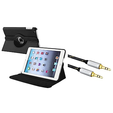 Insten® 360 Swivel Leather Case with 3.5mm M/M Audio Extension Cable For Apple iPad Mini 1 / 2 / 3
