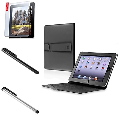 Insten® Black Leather Case Smart Cover with Screen Film and 2-Piece Stylus For iPad 1(288464)