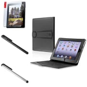 Insten Black Leather Case Smart Cover+Screen Film+Black+Silver Touch Stylus For iPad 1
