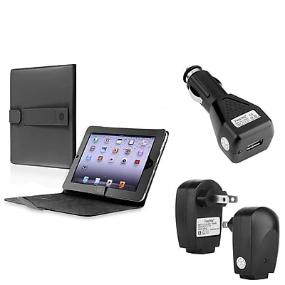 Insten Black Leather Cover Case For iPad 1+Wall+Car Charger