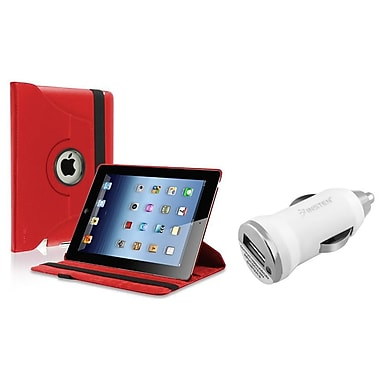 Insten Red 360 Rotating Leather Case Pouch+Car Charger Adapter for iPad 4 4th 3 3rd 2nd (Supports Auto Sleep/Wake)