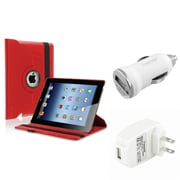 Insten Red 360 Rotating Leather Case Cover+AC+DC Charger for iPad 3 4 Retina / 2nd (Supports Auto Sleep/Wake)