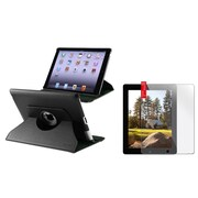 Insten 360 Black Rotating Leather Case+2p Clear Guard for iPad 4 4th/3/2 Retina Display (Supports Auto Sleep/Wake)