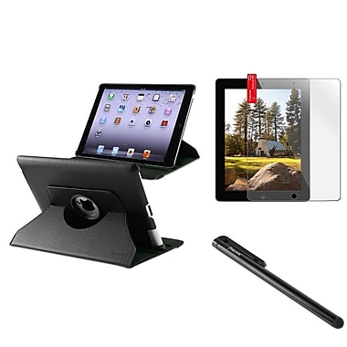 Insten 360 Rotating Magnetic PU Leather Case Cover For iPad 4 3 2 Black