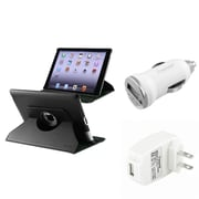 Insten 360 Black Leather Case Pouch+AC Wall+Car Charger for iPad 4 3 2 Retina Display (Supports Auto Sleep/Wake)