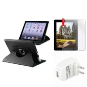 Insten 360 Black Leather Case+Protector+Travel Charger for iPad 3 4 Retina Display / 2 (Supports Auto Sleep/Wake)