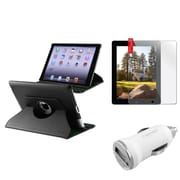 Insten 360 Black Leather Case+Protector Guard+Car Charger for iPad 4 3 2 Retina Display (Supports Auto Sleep/Wake)