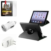 Insten 360 Black Rotating Leather Case+Screen Protector+2 Charger for iPad 3rd 4th 2nd (Supports Auto Sleep/Wake)